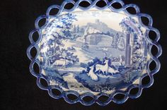 c.1820 English Pearlware Transferware Reticulated Undertray For Basket