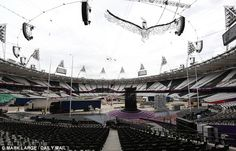 The party's over: The set of the closing ceremony is dismantled and taken away today- August 13, 2012- London, England