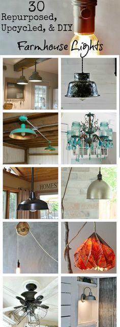 Farmhouse Lighting – Farmhouse Friday DIY Upcycled, Repurposed, And DIY Farmhouse Lights ! via Knick of Time Farmhouse Chic, Vintage Farmhouse, Farmhouse Design, Farmhouse Ideas, Home Lighting, Lighting Ideas, Lighting Design, Club Lighting, Outdoor Lighting