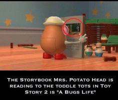 In Toy Story 2, Mrs. Potato Head is reading A Bug's Life book. (Hidden Disney) #ToyStory2 #ABugsLife