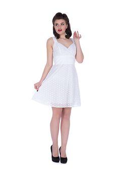 Voodoo Vixen Billie Blush Dress   White Flare 50's Styles   Free UK Delivery