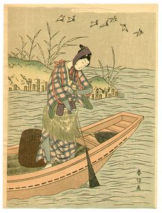 Suzuki Harunobu Title:Fisherman and Birds