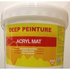 DEEP PEINTURE Acryl Mat 15L - 78,50€ TTC Peinture acrylique mate semi pochée en phase aqueuse pour intérieur. Murs et plafonds en intérieur. - Sans odeur- Très grande facilité d'application- Rapidité de séchage et de recouvrement- Bonne blancheur et opacité