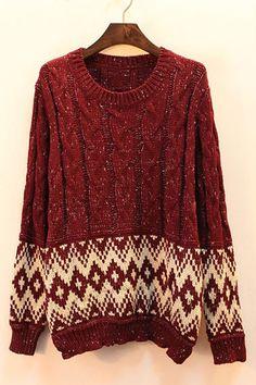 OASAP - Knitted Rhombus Pattern Cardigan - Street Fashion Store