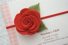 Felt Flower Headband in Red  -