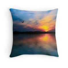 Good Morning in Azure throw pillow. sunrise, nature, home decor. Available as framed print, canvas print, metal print, throw pillow, coffee mug, tote bag, iPhone and iPad cases, laptop sleeves, wall clock, ladies pouch, hardcover journal, and spiral notebook.