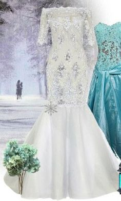 Both dresses/frozen inspired Frozen Wedding Theme, Frozen Theme, Gorgeous Wedding Dress, Dream Wedding, Wedding Shoot, Cute Wedding Ideas, Wedding Inspiration, Frozen Dress, Winter Wonderland Wedding