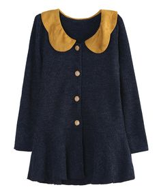 Navy Contrast-Collar Peplum Cardigan with elbow patches! And little tiny bows on the patches! Love!