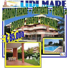 Appartamento Piano Terra con grande giardino e ampio porticato, con utilizzo privato della Piscina in Centro Lido delle Nazioni - Comacchio - Emilia Romagna.