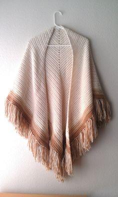 Cream & Brown Crocheted Shawl
