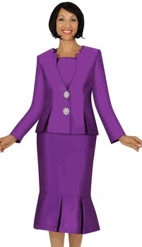 3pc Purple Nubiano Box Pleat Peplum Church Suit