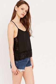 Pins & Needles Crochet Side Cami Top in Black