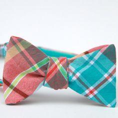 orange & turquoise plaid freestyle bow tie