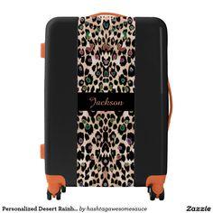 Personalized Desert Rainbow #Leopard Print #Luggage  #zazzle