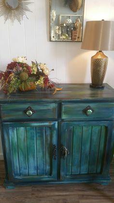 Bermuda blending paint technique...Peacock insipid buffet/cabinet