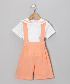 Look at this #zulilyfind! Orange Gingham Button-Up & Shortalls - Infant, Toddler & Boys by SIMI #zulilyfinds