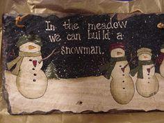 Painted Snowman Slate. Jess Weber