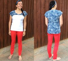 Upcycle Circus: #39 Red (eyes) White and Blue (shirt) - We love how this color blocking totally changes the look!