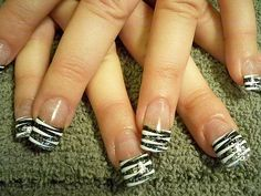 French Tip Nail Designs | French manicure with animal print - Nailszine.com