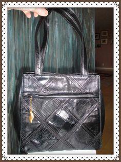 Handbag Leather Patchwork SHARIF  Small Black Croco/Snake Embossed Square    #Sharif #EveningBag