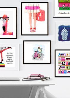 Kate Spade Wall Decor pink gold black. kate spade inspired office. polka dot wall decal
