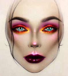 Neues Make-up Puder . Make Up Looks, Facechart Mac, Facechart Makeup, Jaclyn Hill Eyeshadow Palette, Mac Face Charts, Make Up Designs, Makeup Drawing, Drawing Drawing, Makeup Illustration