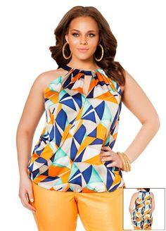 Fashion Bug Womens Plus Size Sleeveless Geo Print Blouse. www.fashionbug.us #curvy #plussize #FashionBug