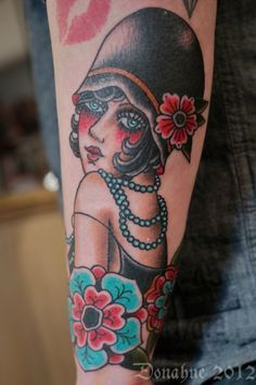 Traditional Flapper Tattoo | Flapper Girl tattoo, not crazy about the hat but I love everything ...