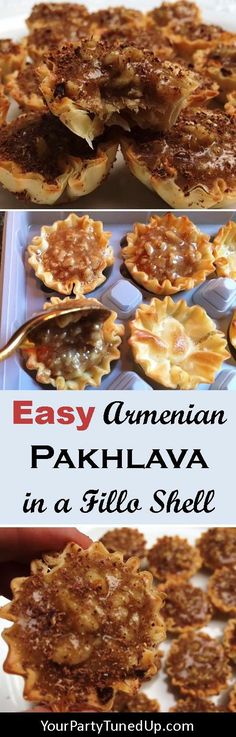 """A quick and easy """"cheat"""" on the Armenian Pakhlava or Greek Baklava. Mix honey butter walnuts lemon juice sugar and cinnamon in a skillet then simply fill the Athens Mini Fillo Shells! Make Ahead Desserts, Mini Desserts, Just Desserts, Pastry Recipes, Cookie Recipes, Dessert Recipes, Chefs, Armenian Recipes, Armenian Food"""