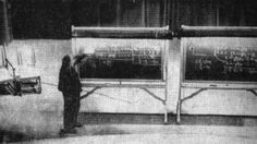 """The only known photograph of Einstein deriving his famous equation E=mc2"""