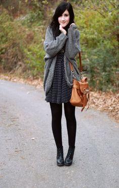 polka dot dress, black sweater, grey coccoon knit sweater, flat black boots