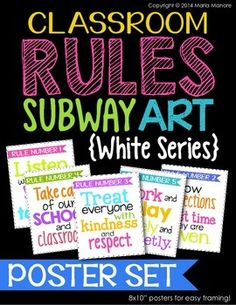 Remind students of your classroom rules while creating an attractive and inviting learning environment. This Classroom Rules Subway Art Poster Set is on-trend with the latest in classroom decor AND it delivers practical rules for a smoothly-managed classroom.