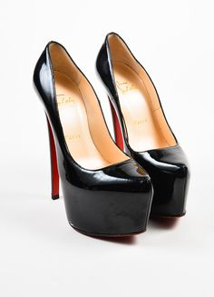 "Daffodile"" pumps by Christian Louboutin are constructed of black patent leather…"