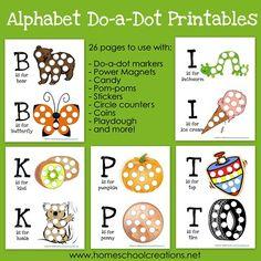 Free Alphabet Do-a-Dot Printables: Get these free alphabet do-a-dot printables at Homeschool Creations.