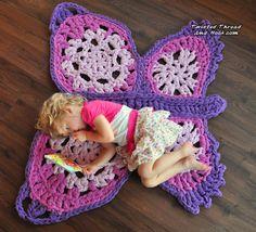Lovely purple butterfly rug, nursery decor,  home decor, handmade