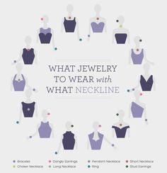 Guide to what kinds of jewelry to wear with different necklines. Great tips for prom jewelry or formal occasions! #whattowear