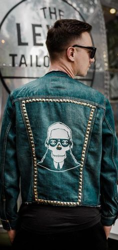 Studs, skulls and stencils. Make your denim jacket one-of-a-kind with a customized back panel, like this Karl Lagerfeld inspired skull stencil. Photo by Grzegorz Pastuszak. Studded Denim Jacket, Denim Coat, Custom Denim Jackets, Creation Couture, Dope Outfits, Swagg, Custom Clothes, Creations, Menswear