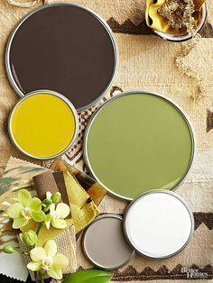 Exotic locales produce distinctive color schemes, including this palette that features coffee-bean brown. putty gray and creamy white supply cooler Brown Color Schemes, Paint Color Schemes, Kitchen Colour Schemes, Kitchen Colors, Kitchen Decor, Yellow Paint Colors, Yellow Painting, Green Colors, Colours