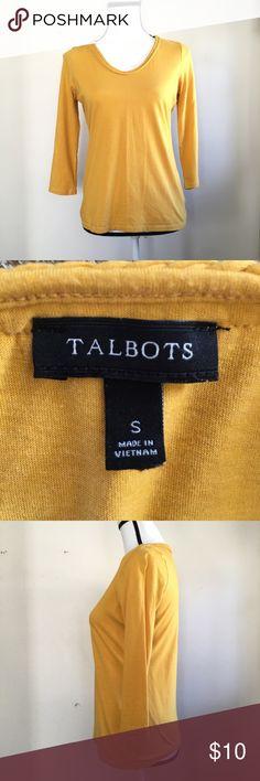 Talbots yellow top Talbots yellow top. Gently used with slight sign of Wear. Still in good condition!  The bust is about 34 inches.  The length is about 23 inches.  Comes from a smoke free home. Talbots Tops Tees - Long Sleeve