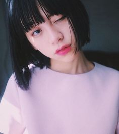 Pink vibe by luluxinggg Asian Bangs, Asian Hair, Hairstyles With Bangs, Girl Hairstyles, Umibe No Onnanoko, Korean Short Hair, Mullet Hairstyle, Cabello Hair, Girl Short Hair
