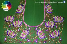 Zardosi Embroidery, Embroidery Works, Machine Embroidery, Embroidery Designs, Blouse Designs Silk, Bridal Blouse Designs, Blouse Patterns, Green Saree, Green Blouse