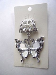 Scarf Ring Slider Butterfly Pendant Silver Tone With Clear Stones New In Package #CielCollection #Pendant