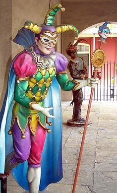 Jester outside Mardi Gras museum