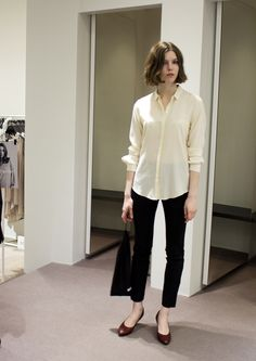 ivory silk shirt, black cropped pants, ballet flats