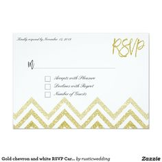 Gold chevron and white RSVP Cards