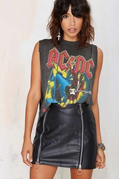 Vintage Ride It Leather Skirt
