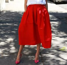 Vintage Ruffled Mid-Calf Skirt