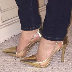 """Jessica Simpson Gold Calkins Lucite Pumps About this item: Features Manmade Imported Manmade sole Heel measures approximately 4"""" Platform measures approximately 0.25"""" Patent leather Clear plastic side panels   Pointed, closed toe  Sorry no shoe box!  Never been worn but a few minor scuffs at heel area. Jessica Simpson Shoes Heels"""
