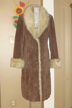 Vintage Wilson s Long Brown SUEDE Faux Fur Trim BOHO Duster Maxi Coat L