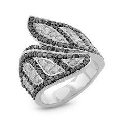 #Malakan #Jewelry - Platinum-Silver Ladies Ring with Black Velvet Diamonds 93582C3 #Fashion #FashionRings #WomensFashion